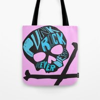 punk rock Tote Bags featuring Punk Rock Never Dies by Even In Death