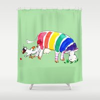 cows Shower Curtains featuring Cows by Hattie Hyder