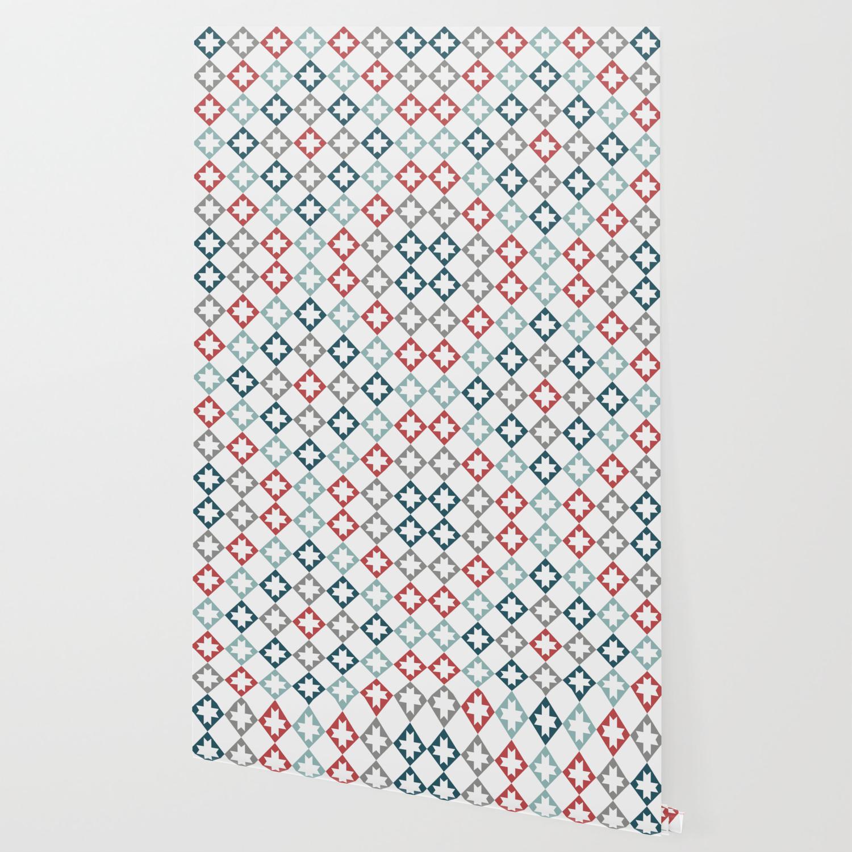 Modern Farmhouse Quilt Pattern Vintage Inspired Northstar And Diamond Harlequin Print Wallpaper
