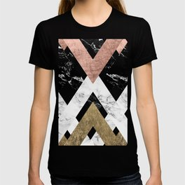 Modern geometric chevron black white marble rose gold foil gold triangles pattern T-shirt