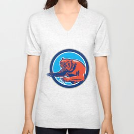 Grizzly Bear Angry Circle Retro Unisex V-Neck