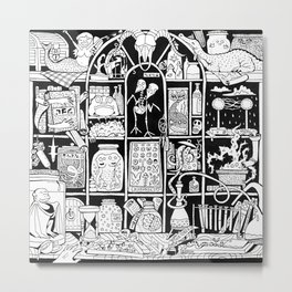Cabinet of Curiosities (BW) Metal Print