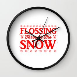 Flossing Through The Snow re Wall Clock