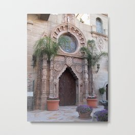 St. Francis of Assisi Chapel Entrance at The Mission Inn Metal Print