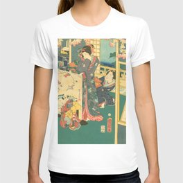 Spring Outing In A Villa Diptych #2 by Toyohara Kunichika T-shirt