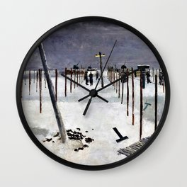 Albert Richards - Sappers Erecting Pickets in the Snow - Digital Remastered Edition Wall Clock