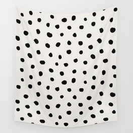Modern Polka Dots Black on Light Gray Wall Tapestry