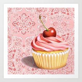 Pink Cupcake Paisley Bandana Art Print