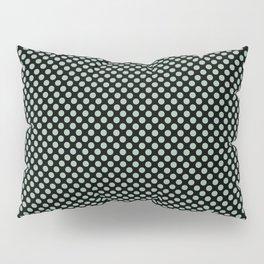Black and Grayed Jade Polka Dots Pillow Sham