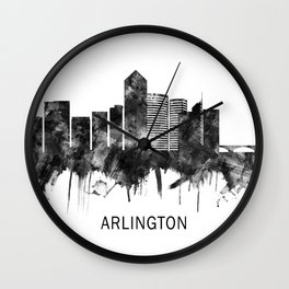 Arlington Texas Skyline BW Wall Clock
