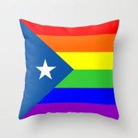 puerto rico Throw Pillows featuring puerto rico gay people homosexual flag rainbow by tony tudor