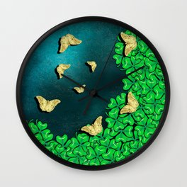 clover and butterflies Wall Clock