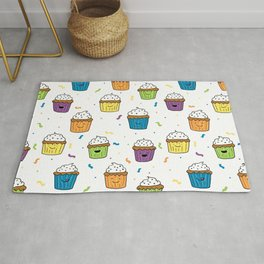Cute Happy Fun Cupcakes with white background Rug