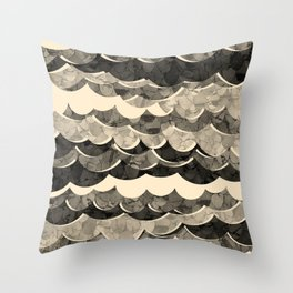 Abstract Beige Sea Waves Design Throw Pillow