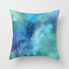 Abstract navy blue teal turquoise watercolor pattern Throw Pillow