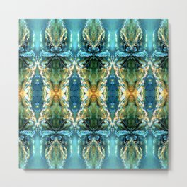 Yellow Green Blue Ice Sculptures Pattern Metal Print
