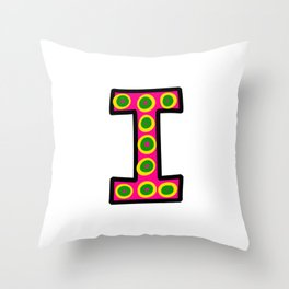 Uppercase Letter i Doodle Throw Pillow