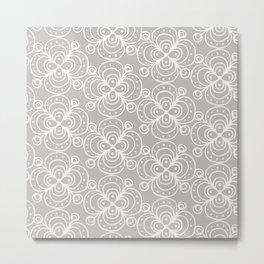 Silver grey lacey floral Metal Print