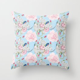 Bluebirds and Watercolor roses on pale blue with white French script Throw Pillow
