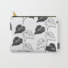 black and white leaves Carry-All Pouch