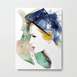 Portrait a lady with blue hat, Fashion Painting, Fashion IIlustration, Vogue Portrait, #19 Metal Print