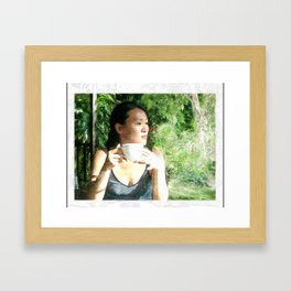 Watercolor of a Serene Beauty with a Cup of Tea in the Rainforest Framed Art Print