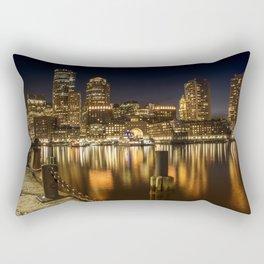 BOSTON Fan Pier Park & Skyline at night Rectangular Pillow