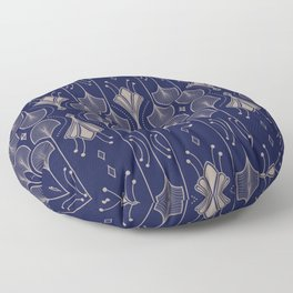 Lily Lake - Retro Floral Pattern Navy Blue Floor Pillow