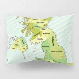 Regions of the United Kingdom Colour version. Pillow Sham