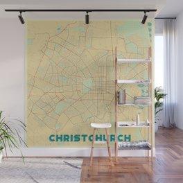 Christchurch Map Retro Wall Mural
