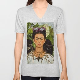 SELF PORTRAIT WITH THORN NECKLACE AND HUMMING BIRD - FRIDA KAHLO Unisex V-Neck