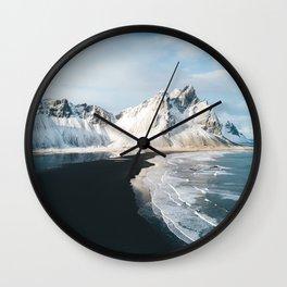 Iceland Mountain Beach - Landscape Photography Wall Clock