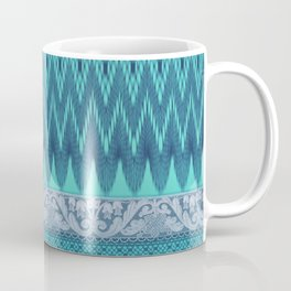 crochet mixed with lace in teal Coffee Mug