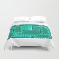 architecture Duvet Covers featuring ARCHITECTURE by BIGEHIBI