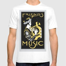 Friends of Music White Mens Fitted Tee MEDIUM