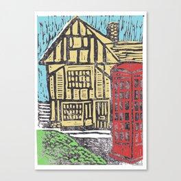 English Tudor House Linocut  Canvas Print