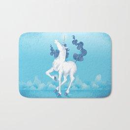 Stencil Unicorn on Teal Sky and Cloud Spray Bath Mat