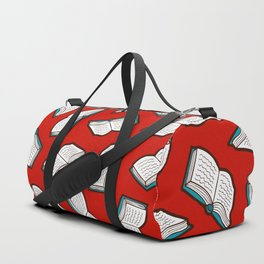Bookish Reading Pattern in Red Duffle Bag