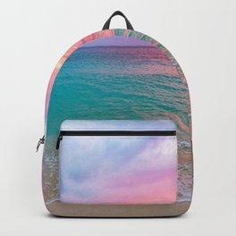 Aerial Photography Beautiful: Turquoise Sunset Relaxing, Peaceful, Coastal Seashore Backpack