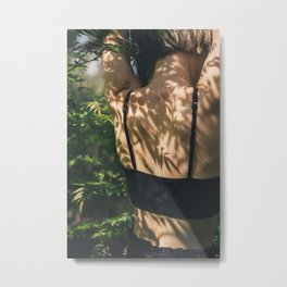 [41] Plants shadows on woman body, body parts, forest, nature, green, travel, trees, summer, sunligh Metal Print