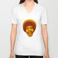 70s V-neck T-shirts featuring 70s style Disco Afro by D-fens