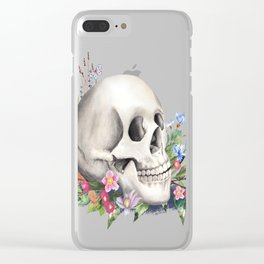 Skull Still Life With Wild Flowers Clear iPhone Case