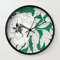 peonies Wall Clocks featuring green peonies by Marcella Wylie