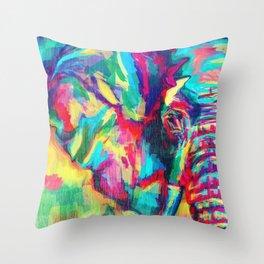 Rainbow Elephant 2 - left Throw Pillow