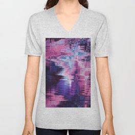 Violet Abstract Glitch effect Unisex V-Neck