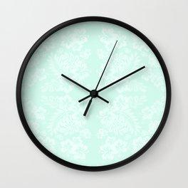 Celadon Mint Green Pastels Tropical Hibiscus Flowers Pattern Wall Clock