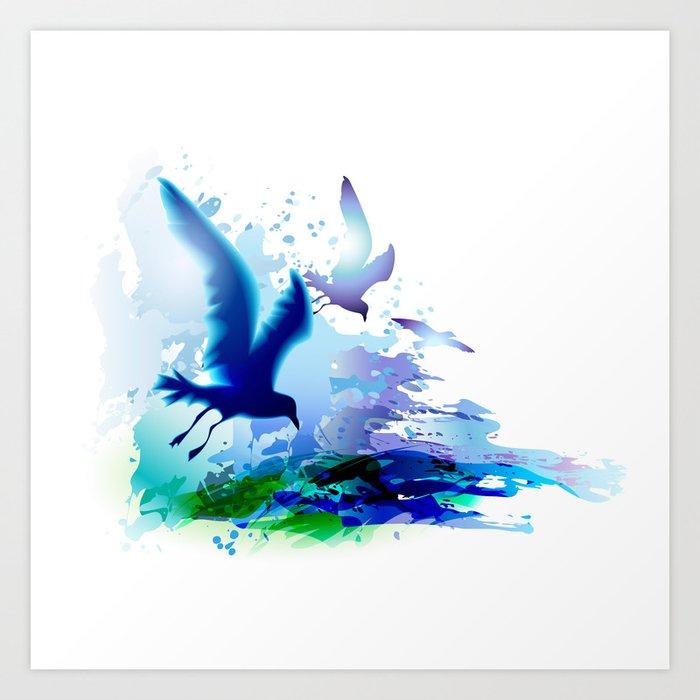 Birds Flying Sea Ocean Watercolor Gulls With Waves Dark Blue Water Art Print By Arija Art