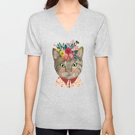 Grey cat with flower crown Unisex V-Neck