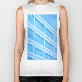 Blue Building - Watercolor, Tapeart Biker Tank