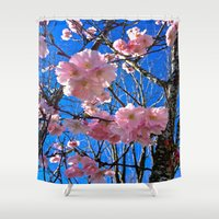 portland Shower Curtains featuring Portland Sakura by Casey J. Newman